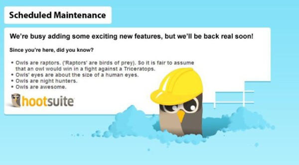 hootsuite maintenance screen 1 Good User Experience   HootSuites Scheduled Maintenance Page