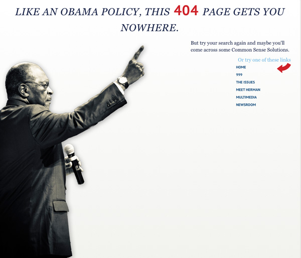hermancain404page Herman Cains 404 Page is Quite Entertaining